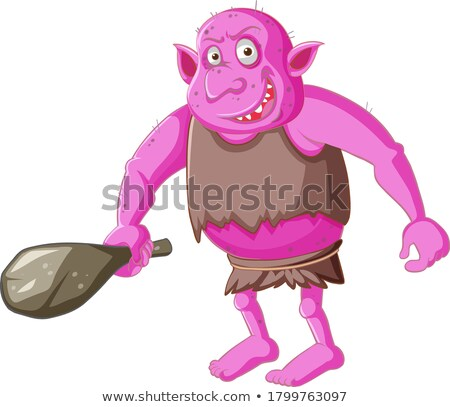 Pink goblin or troll holding hunting tool in cartoon character i Stock photo © bluering