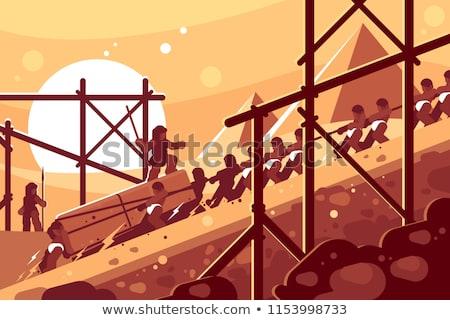 Construção egípcio pirâmides mover blocos edifício Foto stock © jossdiim