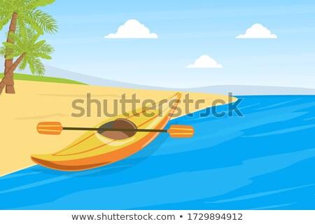 boat on summer lake bank stock photo © wildman