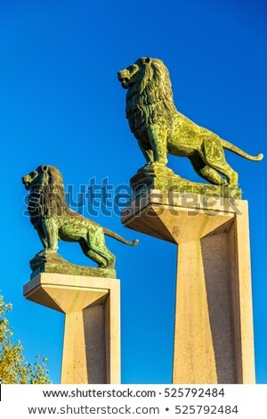 Lion statues at Stone Bridge in Zaragoza Stock photo © aladin66