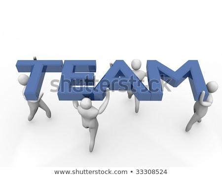 group of 3d men acting as team high resolution 3d render stock photo © 4designersart