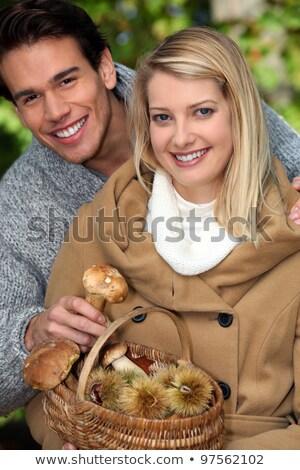 Fiatal pér gyűlés gombák erdő fa erdő Stock fotó © photography33