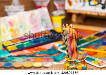 обучения инструменты Живопись изолированный белый краской Сток-фото © HectorSnchz
