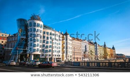 renkli · evler · Prag · tipik · kırmızı · çatılar - stok fotoğraf © ondrej83