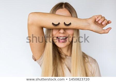 Retrato mulher jovem rímel olho branco Foto stock © wavebreak_media