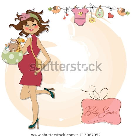 Stock photo: baby announcement card with beautiful pregnant woman on shopping