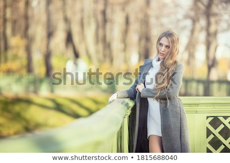 Güzel genç kadın kahverengi elbise yüz model Stok fotoğraf © pandorabox