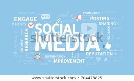 Közösségi média szófelhő vektor technológia hálózat háló Stock fotó © burakowski