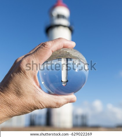 Cam küre deniz feneri gökyüzü dizayn kum Stok fotoğraf © compuinfoto