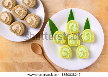 Szelet édes zsemle fakanál krémes fehér Stock fotó © Digifoodstock