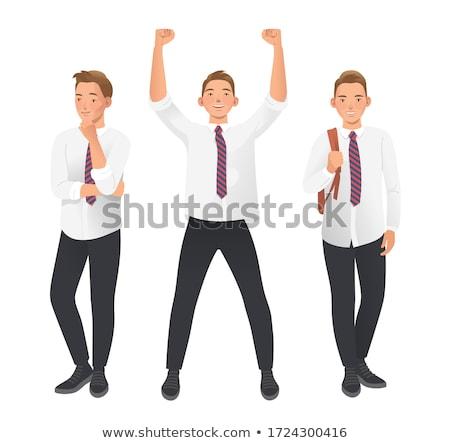 Cute Junge stehen Hände angehoben weiß Stock foto © wavebreak_media