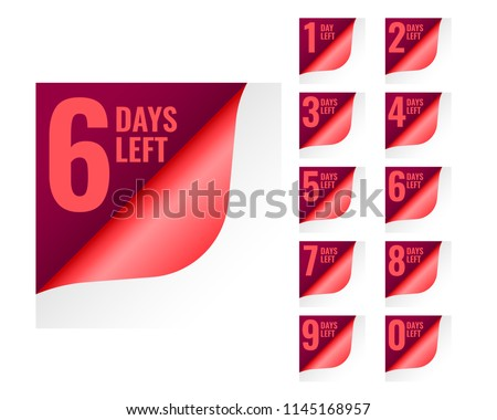number of days left tags in page curl style Stock photo © SArts