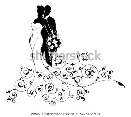 couple · silhouette · isolé · blanche · femme · fête - photo stock © krisdog