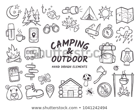 Camping tent hand drawn outline doodle icon. Stock photo © RAStudio