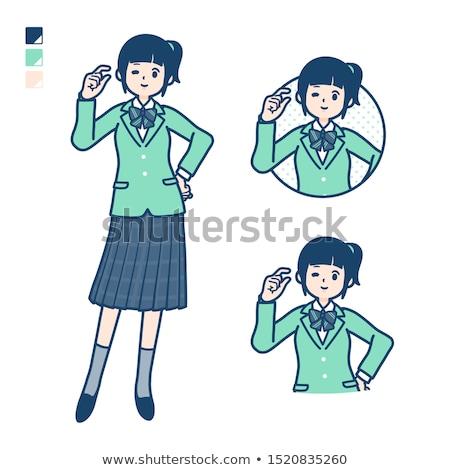 school girl Green Blazer_relax stock photo © toyotoyo