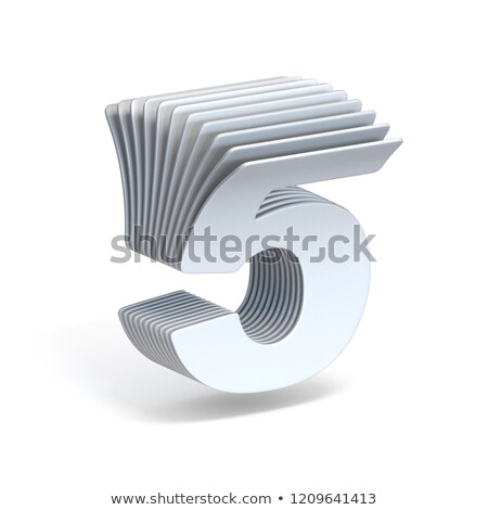 Curved paper sheets Number 5 FIVE 3D Stock photo © djmilic