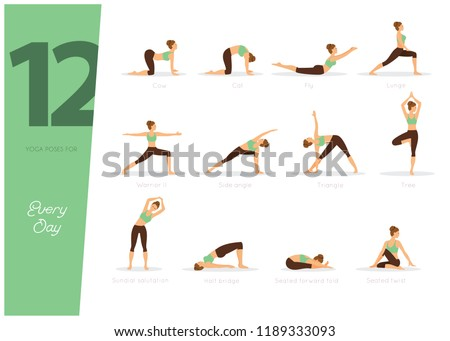 12 yoga jour heureux fitness beauté Photo stock © anastasiya_popov