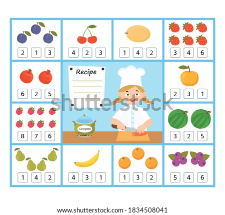 Сток-фото: Counting Children Characters Educational Game