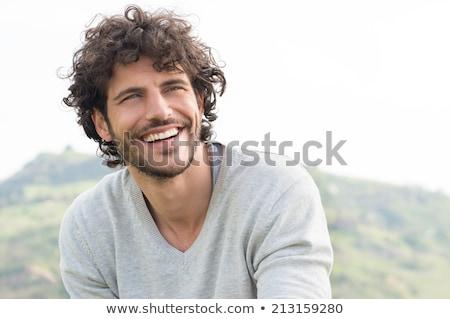 portret · tevreden · jonge · man · trui · sjaal · geïsoleerd - stockfoto © deandrobot