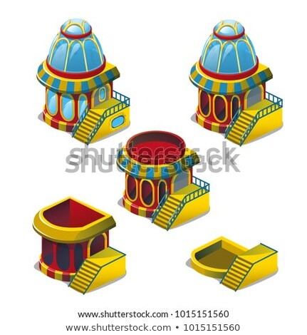 The set of stages of construction of fish house isolated on white background. Vector cartoon close-u Stock photo © Lady-Luck