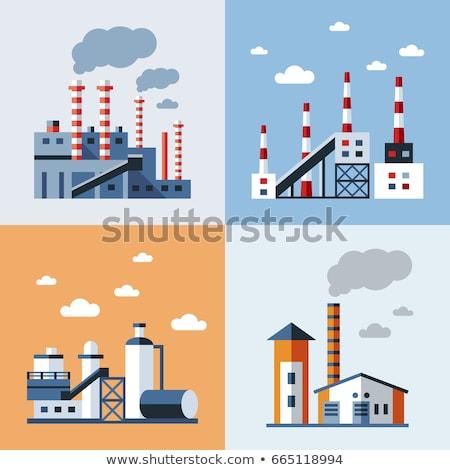Digitális vektor kék gyár szennyezés ikonok Stock fotó © frimufilms