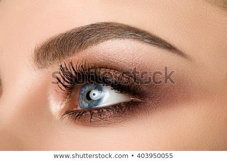 Blauw · vrouw · oog · mooie · bruin - stockfoto © serdechny