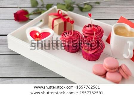 Közelkép minitorták szív koktél valentin nap étel Stock fotó © dolgachov