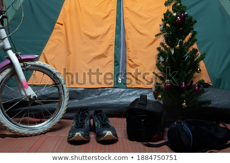 Hiking shoes in front of tent Stock photo © lichtmeister