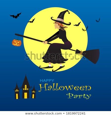 Glow Halloween Greeting Card with Witch Pumpkin, Bat, Moon on th Stock photo © lissantee