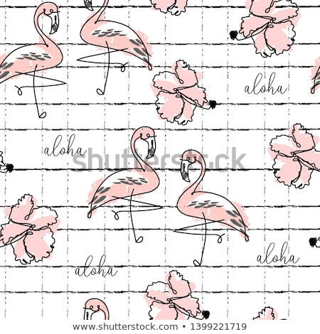 Brushed letters and exotic birds seamless vector pattern. Stock photo © yopixart