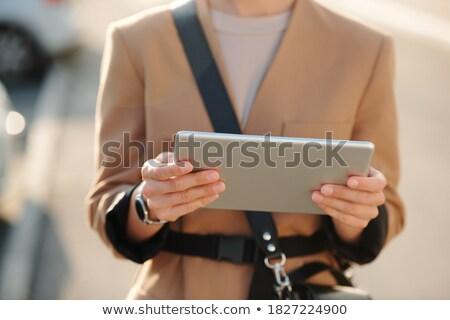 Genç zarif işkadını touchpad sörf net Stok fotoğraf © pressmaster