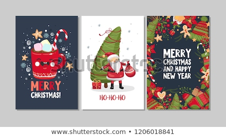 Merry Christmas greeting card holiday doodle Stock photo © cienpies