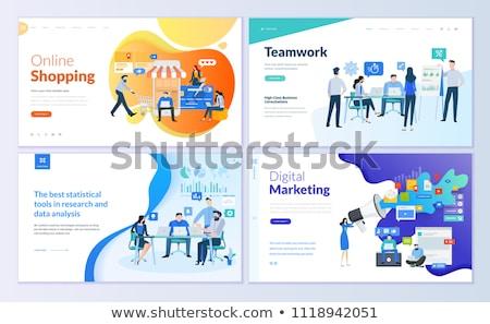 Digitale marketing landing pagina team vergrootglas Stockfoto © RAStudio