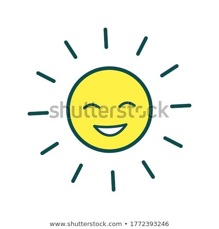Happy sun emoji outline illustration Stock photo © barsrsind