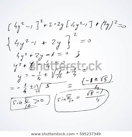 Hand-drawn complicated scientific formulas and calculations on sheet with square cyan grid on white  Stock photo © evgeny89