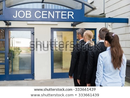 Job Center Line Of Jobless Unemployed Recruitment Seekers Stock photo © AndreyPopov