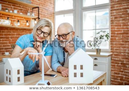 idősek · pár · szélturbinák · néz · család · szeretet - stock fotó © photocreo