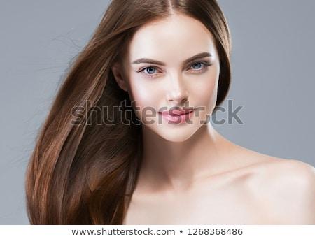 mooie · brunette · meisje · portret · poseren · grijs - stockfoto © zastavkin