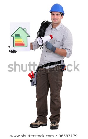 Builder with an energy rating sign Stock photo © photography33
