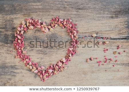 Szív alakú koszorú rózsaszín fények fa Stock fotó © wavebreak_media