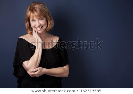 Előkelő érett nő visel fekete mosoly boldog Stock fotó © zdenkam