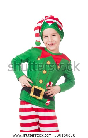 Little smiling child boy in gnome or elf costume Stock photo © ia_64