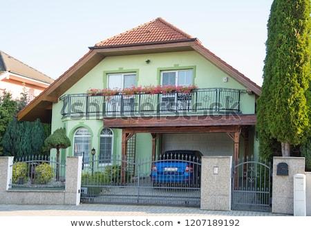 Novo casas Eslováquia edifício nascer do sol silhueta Foto stock © phbcz