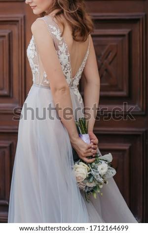 Happy bride in her white dress  Stock photo © dashapetrenko
