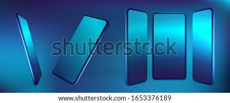 Stock photo: White Smart Phone With Blue Screen on the Black Table