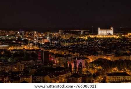 Bratislava · noite · Eslováquia · nuvens · edifício · pôr · do · sol - foto stock © kayco
