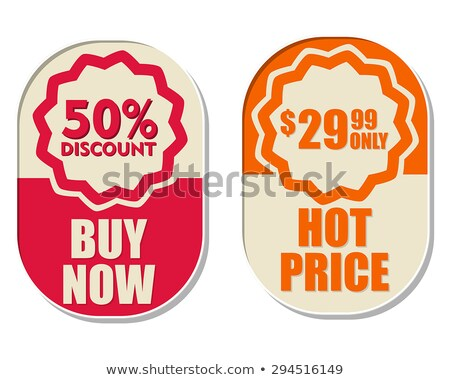buy now and half price, two elliptical labels Stock photo © marinini