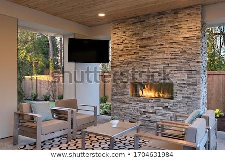 Outdoor haard brand ontwerp home steen Stockfoto © jarin13