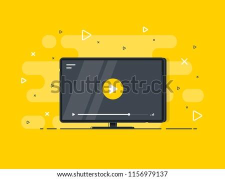Stock fotó: Videó · citromsárga · vektor · ikon · terv · digitális