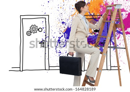 beautiful brown-haired woman in the hall with ladder Stock photo © Paha_L